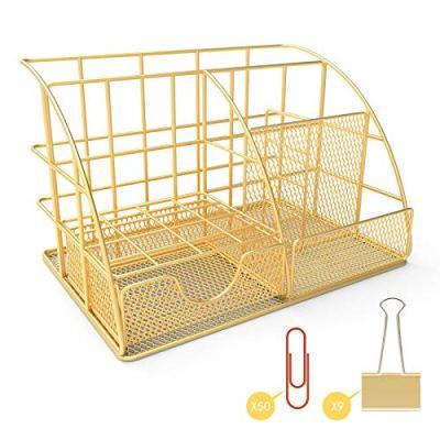 Desk Organizer Accessories, Gold Office Organizer