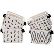 Foldable Mini Square New Black and White Theme Natural Linen