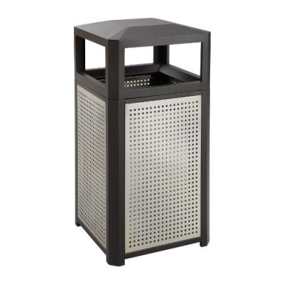 Indoor Trash Can with Perforated Galvanized Steel Panel