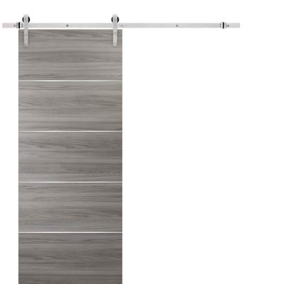 Barn Sliding Grey Door 42 x 84 with Stainless Steel Hardware