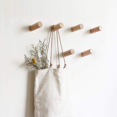 HomeDo Natural Wooden Coat Hooks Wall Mounted