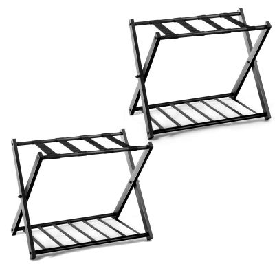 Safstar Folding Luggage Rack with Shoe Shelf