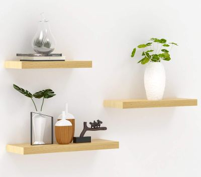 INMAN Floating Shelves Wood Wall Shelves Set of 3