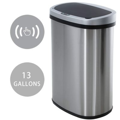Waste Bin Mute Metal Garbage Can with Lid Stainless Steel