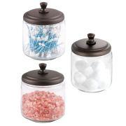 mDesign Glass Bathroom Vanity Storage Organizer Canisters Jars