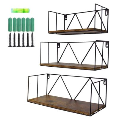 Floating Wall Shelves Set of 3, Black Metal Wire Hanging Rustic Storage