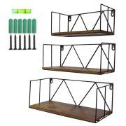 Floating Wall Shelves Set of 3, Black Metal Wire Hanging Rustic Storage