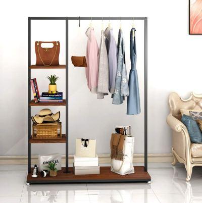 Metal Clothes Garment Racks with 4 Wood Storage