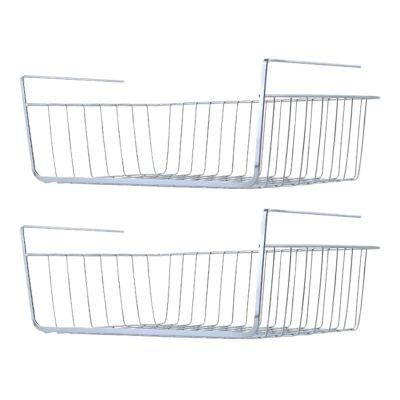 Comfecto Under Shelf Basket, 2 Pack Stainless Steel Wire Rack
