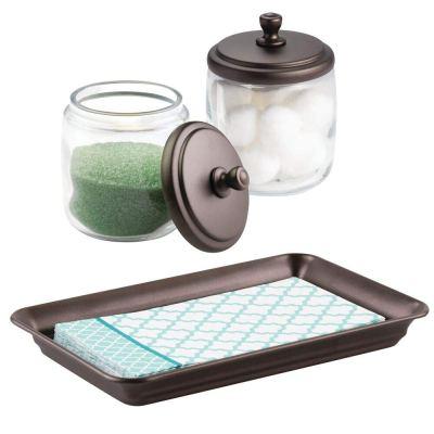 Vanity Storage Organizer Canister Jars and Vanity Tray Set