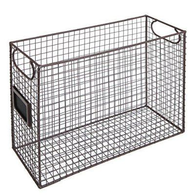 File Folder Organizer Wire Brown Metal Document Storage Container