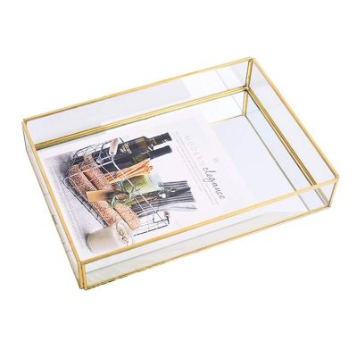 Sooyee Gold Tray Mirror, Rectangle Mirror Tray can Hold Perfume