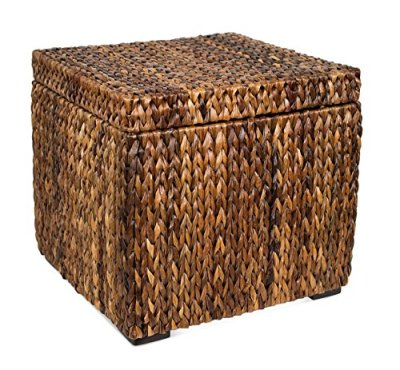BIRDROCK HOME Woven Storage Cube - Abaca Seagrass Decorative Ottoman