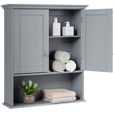 Tangkula Wall Mount Bathroom Cabinet Wooden Medicine