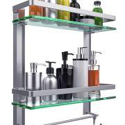 Vdomus Tempered Glass Bathroom Shelf, 2 Tier Shelf with Towel bar
