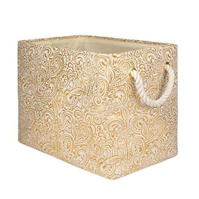 DII Gold Print Collapsible Polyester Storage Bin
