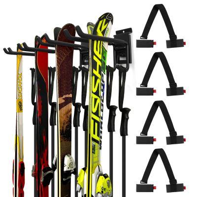 Wall Storage Rack with 4 Ski Strap Carrier