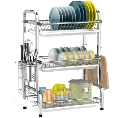 Large Capacity 201 Stainless Steel Dish Rack with Utensil Holder