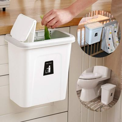 Small Trash Can with Lid Hanging Garbage
