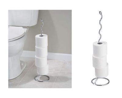 iDesign Orbinni Metal Toilet Tissue Roll Reserve for Bathroom