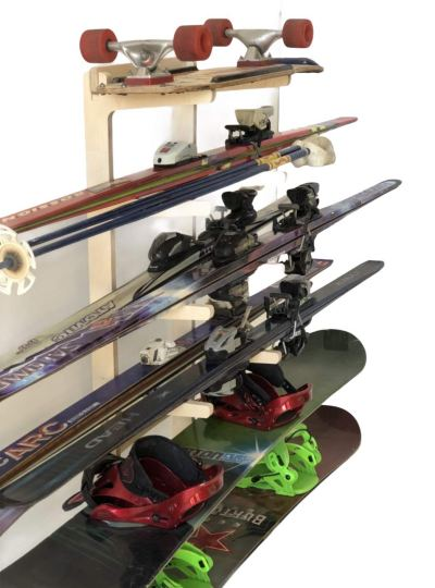 Freestanding Ski Rack for: Snowboards, Skis, Skateboards, Scooters