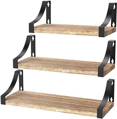 Amada Floating Shelves Wall Mounted, Rustic Paulownia Wood Wall