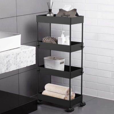 AOJIA 4 Tier Slide Out Storage Cart, Bathroom Storage Organizer Rolling Utility Cart