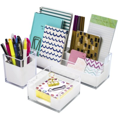 Sorbus Acrylic Desk Organizers Set – 3-Piece