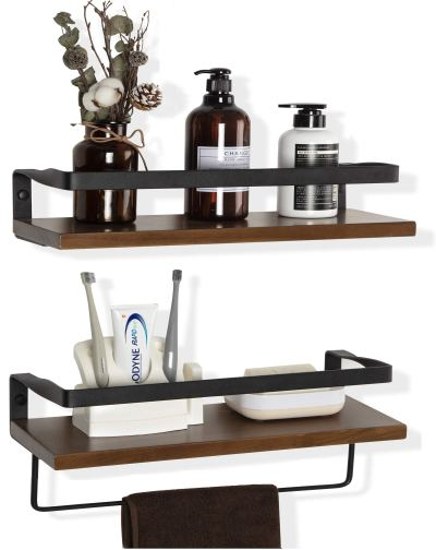 Rustic Wood Decor Shelf Set of 2 for Kitchen, Bathroom