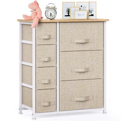 7 Drawer Fabric Dresser Storage Tower, Dresser Chest
