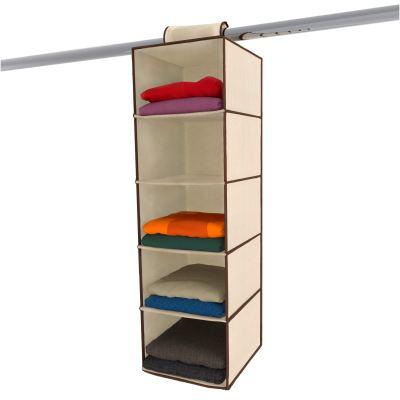 Ziz Home Hanging Closet Organizer | 5 Shelf Beige