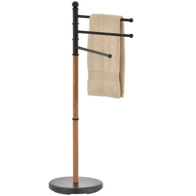 Towel Rack Stand with Oak Wood