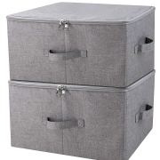 Folding Storage Box with Zip Lid and Handles