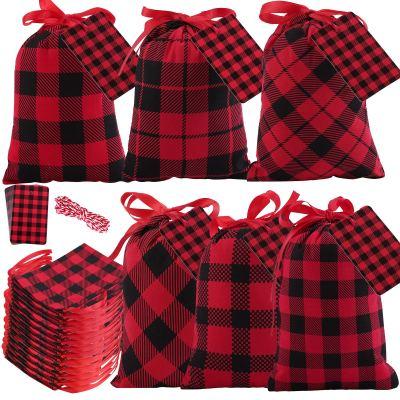 Aneco 16 Pieces Mini Christmas Red and Black Plaid