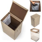 Collapsible Laundry Hamper with Lid and Liner