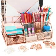OFFICE ALMIGHTY Rose Gold Desk Organizer for Women