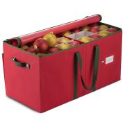 Large Christmas Ornament Storage Box with Dual Zipper Closure