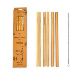 Box Kit 6 long straws - Bamboo MOVE