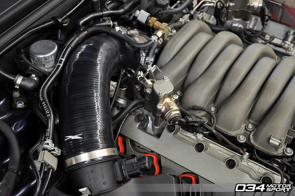 hight resolution of  b8 audi s5 4 2l fsi v8 engine bay with 034motorsport performance throttle body hose