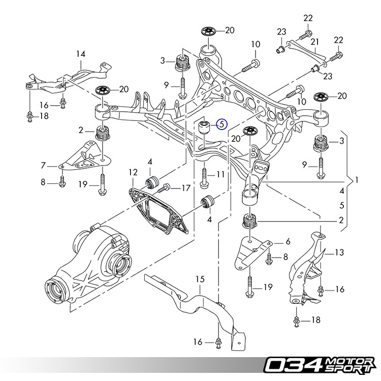 034Motorsport Rear Differential Mount Upgrade Kit, B8 Audi A4/S4/RS4, A5/S5/RS5, Q5/SQ5 & C7