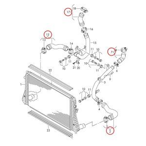 Silicone Boost Hose Kit, MkVII Volkswagen GTI & Golf R, 8V