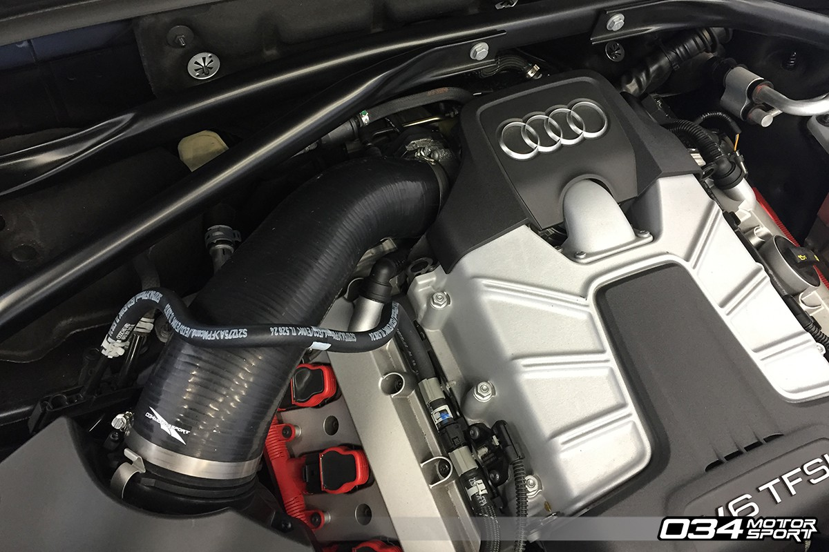 hight resolution of performance air intake hose installed on audi q5 sq5 3 0 tfsi 034 112 silicone throttle body