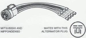 C1860, Repair Connector, Voltage Regulator, Mitsubishi and Nippondenso type Alternators, 4Pin