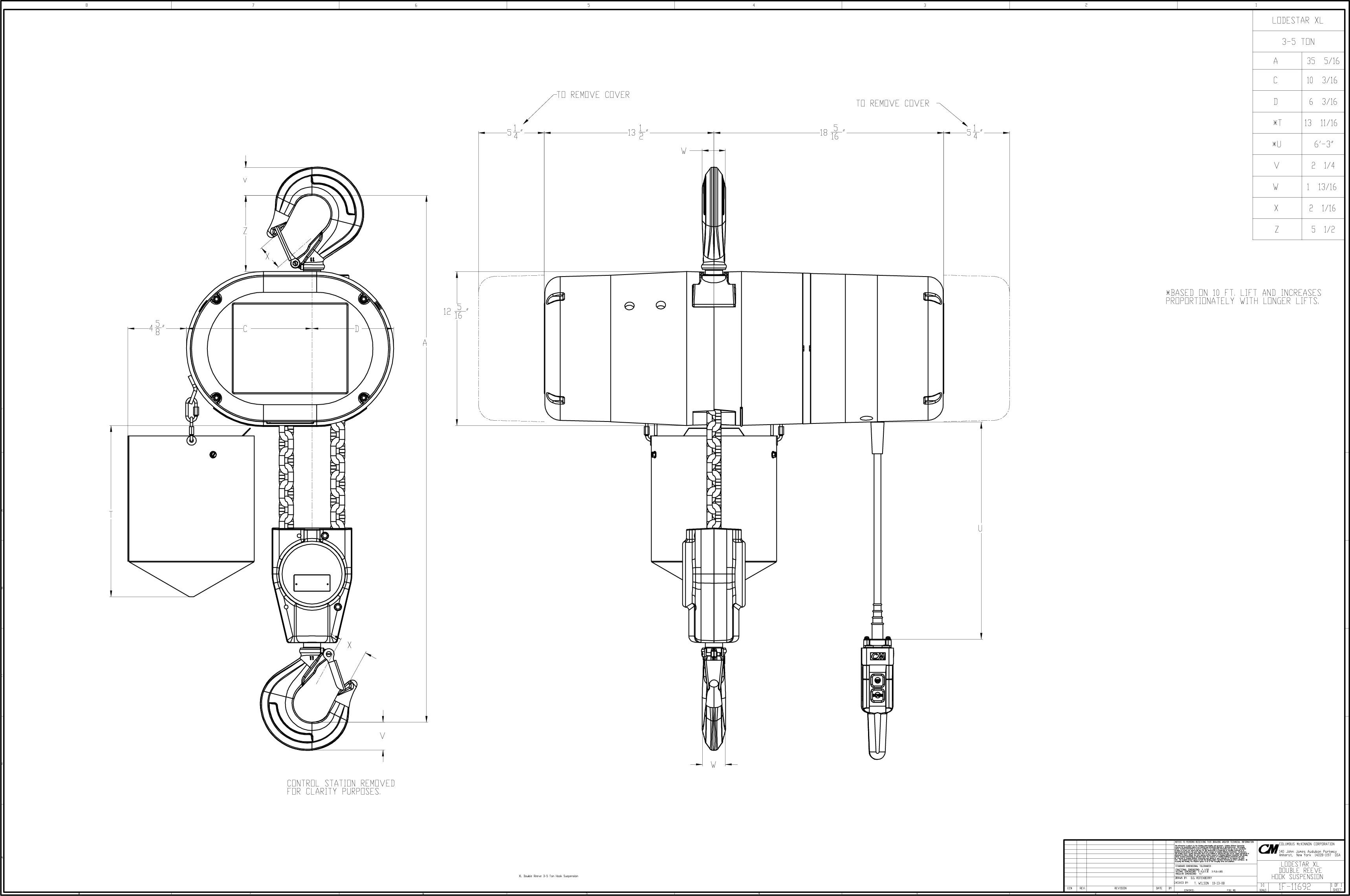 Product Code 5221H, CM Lodestar XL Electric Chain Hoist