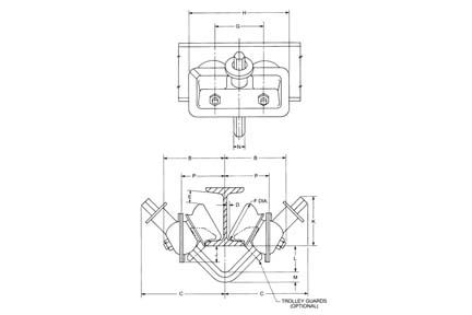 Product Code 3222, Cm Series 632 Close Radius Trolley On