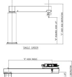 drawing aceco free standing insert mounted cad image jib crane sheet [ 1662 x 2713 Pixel ]