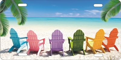 Beach Chairs Tropical beach scene car tag personalized