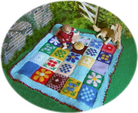 Pattern for a dolls picnic rug