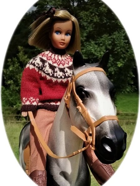 Doll wearing knitted sweater