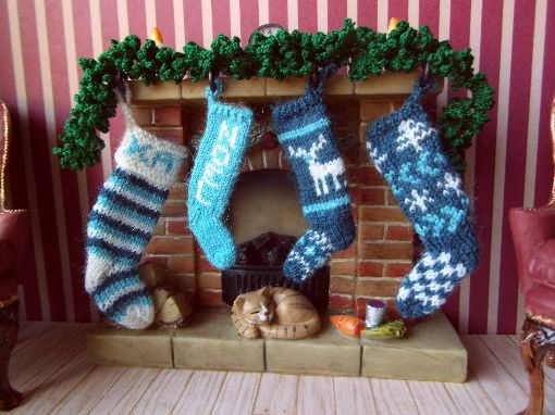 1:12th scale knitted Christmas stockings